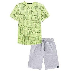 Conjunto Infantil Masculino Camiseta e Bermuda com Bolso - Johnny Fox