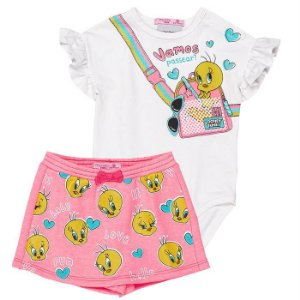 Conjunto Infantil Feminino Body com Short Saia Piu Piu  - Momi