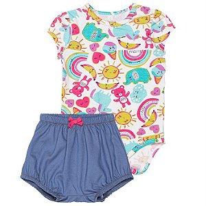 Conjunto Infantil Feminino Body com Short Sol  - Momi