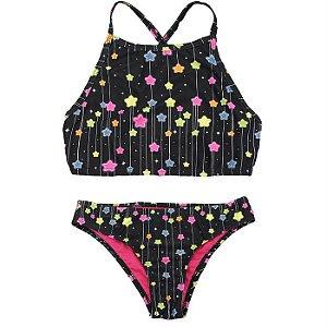 Biquini Infantil Feminino Cropped Estrelas - Viva Flor