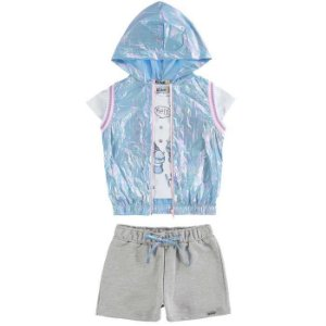 Conjunto Infantil Feminino Blusa com Shorts Patins - Kukiê