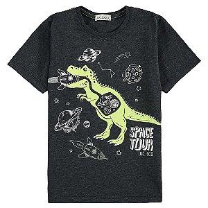 Camiseta Infantil Masculino Dino Espacial - Luc.Boo