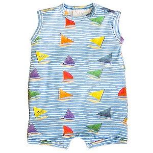 Macacão Infantil Masculino Curto Barcos - Tilly Baby