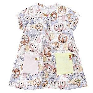 Vestido Infantil Feminino Quebra-Cabeça - Kiki Xodó