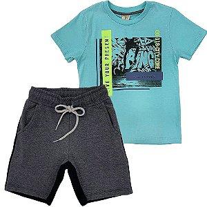 Conjunto Camiseta Verde e Bermuda Moletom - Have Fun