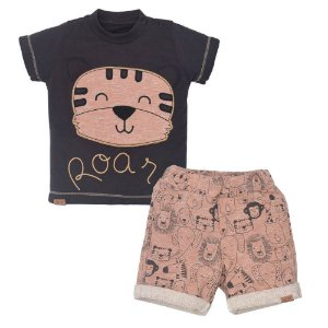 Conjunto Suedine Camiseta e Bermuda Leão - Upi Uli