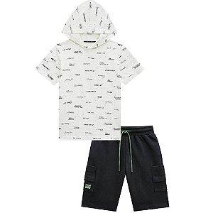 Conjunto Camiseta Capuz e Bermuda Moletinho - Johnny Fox