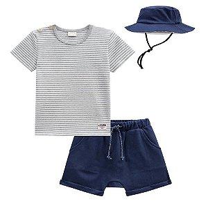 Conjunto Camiseta Bermuda Chapéu - Luc.Boo