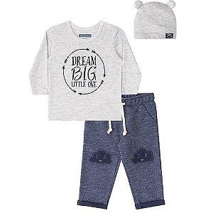 Conjunto Infantil Menino 3 Peças Blusa Calça e Gorro  - Luc.boo