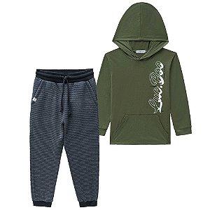 Conjunto Camiseta com Capuz e Calça Verde - Luc.Boo