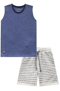 Conjunto Infantil Camiseta Regata Azul Bermuda Listras - Luc.Boo