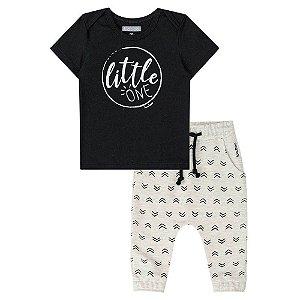 Conjunto Infantil Camiseta Preta Calça Saruel - Luc.Boo