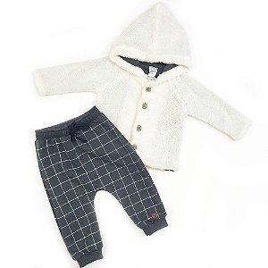 Conjunto Menino Blusa de Pelo e Calça Xadrez - Luc.Boo