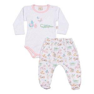 Conjunto Longo Suedine Body e Culote Safari Rosa - Anjos Baby