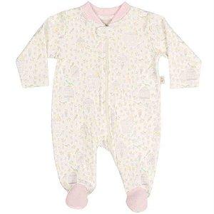 Macacão Longo Suedine Ziper Passarinhos - Anjos Baby