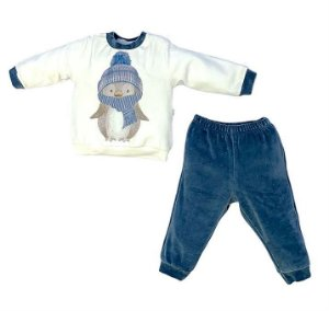 Conjunto Infantil Longo Plush Pinguim Azul - Anjos Baby