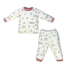 Conjunto Infantil Longo Plush Pinguim Rose - Anjos Baby