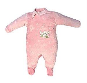 Macacão Longo Plush Ursinha Rosa - Anjos Baby