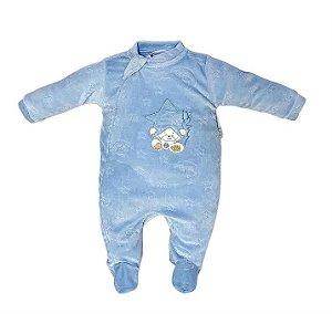 Macacão Longo Plush Ursinho Azul - Anjos Baby