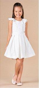 Vestido Infantil Bordado Saia Rodada Pérolas Corações Branco- Kiki Xodó