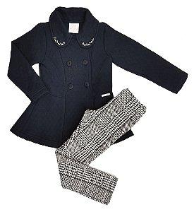 Conjunto casaco com bordado e Calça Legging Estampada - Kiki Xodó
