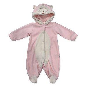Macacão Longo Gatinha Soft Rosa - Beth Bebê