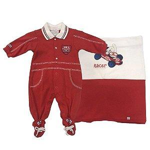 Saída Maternidade Masculina Suedine João Gabriel Vermelha - Beth Bebê