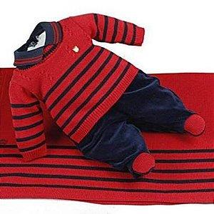 Saída Maternidade Masculina Plush Luan Vermelho e Azul Marinho - Beth Bebê
