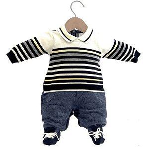 Macacão Infantil Masculino Suedine e Tricot Henrique Azul Marinho Listras - Beth Bebê