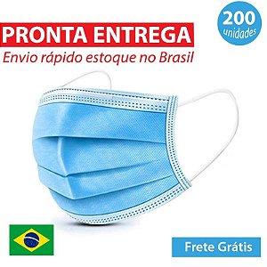 Mascara Descartavel Tripla Proteção Azul 200 unidades