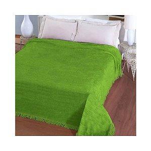 Colcha Chenille Jolitex Com Franja Lisa 2,20x2,40m Verde