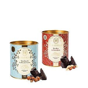 Haoma Bombom Chocolate Belga Amendoim e Avelã 2 Latas Kit