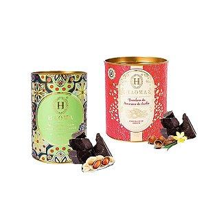 Haoma Bombom Chocolate Belga Paçoca e Amorilo 2 Latas Kit