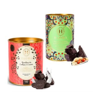 Haoma Bombom Chocolate Belga Paçoca e Cookies 2 Latas Kit