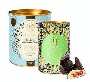Haoma Bombom Chocolate Belga Paçoca E Avelã 2 Latas Kit
