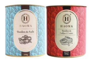 Haoma Bombom Chocolate Belga Cookies E Avelã 2 Latas Kit