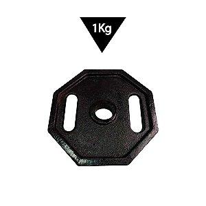 Anilha Barra Musculação 1kg Pintada Preta Halter octavada