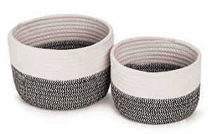 Cesto algodão Cachepot vaso guarda objetos Conjunto 2 Unid.
