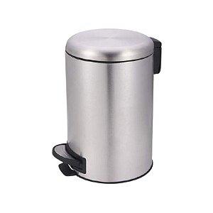 Lixeira Aço Inox Escovado Com Pedal Balde Interno 3 Litros