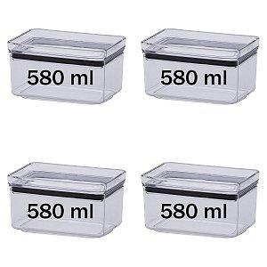 Jogo 4 Potes Herméticos Retangulares 580ml Empilháveis Kit