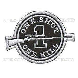 PATCH BORDADO COM VELCRO ONE SHOT ONE KILL