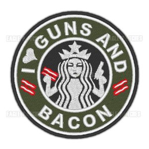 PATCH BORDADO COM VELCRO GUNS AND BACON