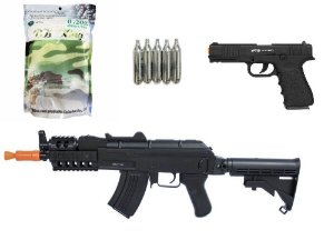 KIT MITO RIFLE DE AIRSOFT CYMA CM5521 + PISTOLA A GÁS W119 BLOWBACK+ BBS + CILINDRO CO2