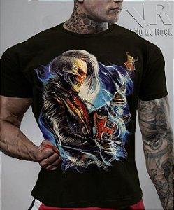 Camiseta Caveira Guitarra Preta