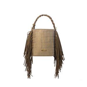 BAG TATI - Bolsa saco com franjas Croco Verde Floresta