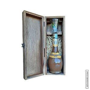 Kit Presente 1 Licor de Leite Condensado 375ml em Estojo de Madeira com 1 Copo