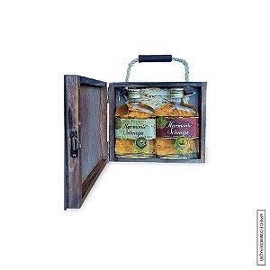 Kit Presente 2 Cachaças Envelhecidas  Harmonie Schnaps de 160ml cada em Estojo de Madeira com Alça