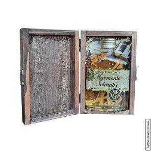 Kit Presente 1 Cachaça Envelhecida Blend de 4 Madeiras 160ml em Estojo de Madeira