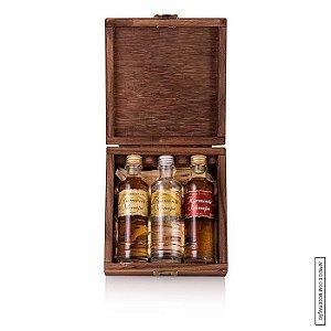 Kit Presente 3 Cachaças Harmonie Schnaps 50 ml cada em Estojo de Madeira