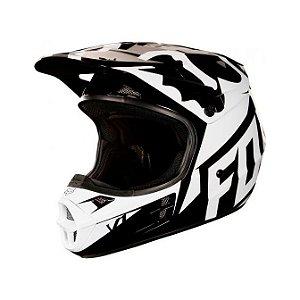Capacete Para Quadri FOX V1 Race - Preto Branco